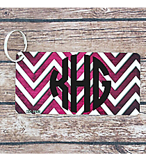 Brushed Fuchsia and White Chevron Metal Keychain #KC-7053