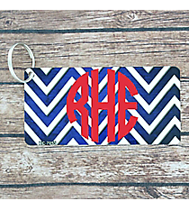 Brushed Dark Blue and White Chevron Metal Keychain #KC-7055
