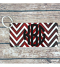 Brushed Red and White Chevron Metal Keychain #KC-7058