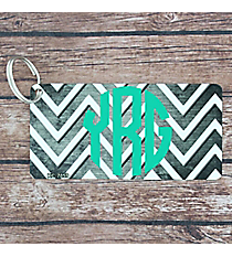 Brushed Gray and White Chevron Metal Keychain #KC-7059