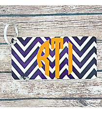 Brushed Purple and White Chevron Metal Keychain #KC-7060