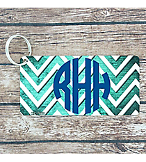 Brushed Mint and White Chevron Metal Keychain #KC-7066