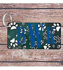 Brushed Dark Green and White Paw Print Metal Keychain #KC-7559
