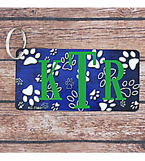Brushed Dark Blue and White Paw Print Metal Keychain #KC-7560