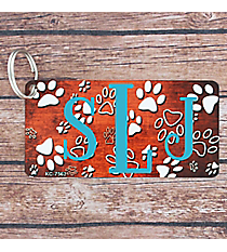 Brushed Orange and White Paw Print Metal Keychain #KC-7562