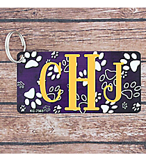 Brushed Purple and White Paw Print Metal Keychain #KC-7565