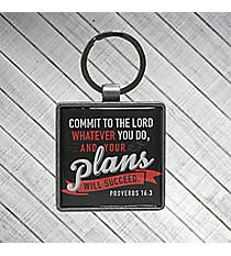Proverbs 16:3 Metal Keyring #KEP034