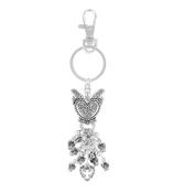 Silvertone Scroll Dangling Angel Charm Keychain #AK0244-AS