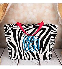 Zebra with Fuchsia Trim Insulated Lunch Bag #LB103-163-F