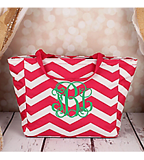 Fuchsia and White Chevron Insulated Lunch Bag #LB103-165-F/W