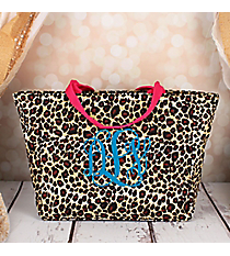Leopard with Fuchsia Trim Insulated Lunch Bag #LB103-168-F