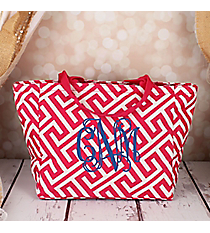 Fuchsia and White Greek Key Maze Insulated Lunch Bag #LB103-185-F/W