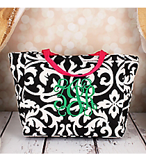 Black and White Damask with Fuchsia Trim Insulated Lunch Bag #LB103-501-F