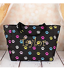 Black with Multi-Color Paw Prints Insulated Lunch Bag #LB103-589