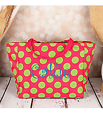 Fuchsia with Lime Polka Dots Insulated Lunch Bag #LB103-638