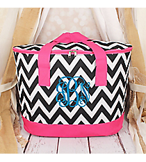 Black and White Chevron with Pink Trim Cooler Tote with Lid #LCB-1324-P