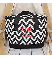 Black and White Chevron Cooler Tote with Lid #LCB-1324