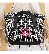 Black and White Connecting Squares Cooler Tote with Lid #LCB-1334-1
