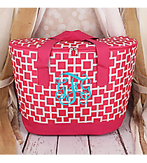Pink and White Connecting Squares Cooler Tote with Lid #LCB-1334-2
