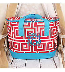 Pink and White Greek Key with Blue Trim Cooler Tote with Lid #LCB-704-PK-BL