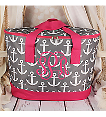Gray and White Anchor with Pink Trim Cooler Tote with Lid #LCB-706-GR-PK