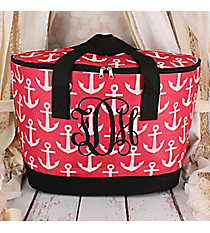 Pink and White Anchor with Black Trim Cooler Tote with Lid #LCB-706-PK-BK