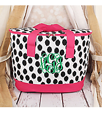 Black Brushed Dots with Pink Trim Cooler Tote with Lid #LCB-707-BK-PK