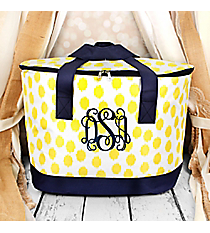 Yellow Brushed Dots with Navy Blue Trim Cooler Tote with Lid #LCB-707-Y-BL