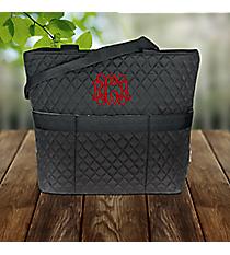 Black Quilted Diaper Bag #LM2121-BLACK