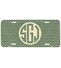 Green and White Chevron Print Metal License Plate #LP-2716