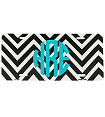 Black and White Large Chevron Print Metal License Plate #LP-4467