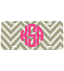 Grey and White Large Chevron Print Metal License Plate #LP-4474