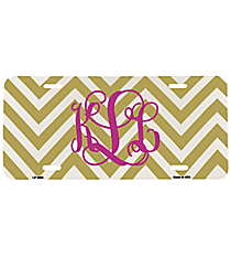 Gold and White Large Chevron Print Metal License Plate #LP-4480