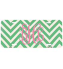 Teal and White Large Chevron Print Metal License Plate #LP-4481