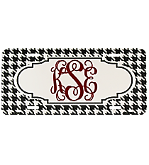 Black and White Houndstooth Metal License Plate with Center Scalloped Oval #LP-4588