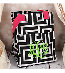 Black and White Greek Key with Pink Trim Insulated Lunch Tote #LT11-704-BK-PK