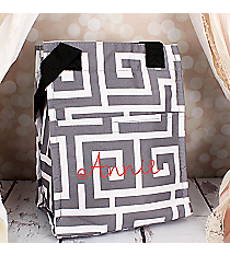 Gray and White Greek Key Insulated Lunch Tote #LT11-704-GRAY