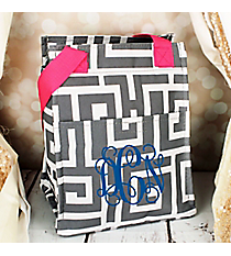 Gray and White Greek Key with Pink Trim Insulated Lunch Tote #LT11-704-GR-PK