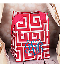 Pink and White Greek Key Insulated Lunch Tote #LT11-704-P