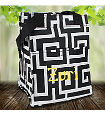 Black and Gray Greek Key Insulated Lunch Tote #LT11-704