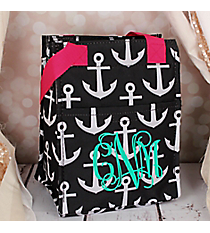 Black and White Anchor with Pink Trim Insulated Lunch Tote #LT11-706-BK-PK