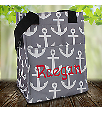 Gray and White Anchor Insulated Lunch Tote #LT11-706-GRAY