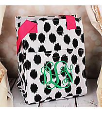 Black Brushed Dots with Pink Trim Insulated Lunch Tote #LT11-707-BK-PK