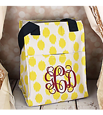 Yellow Brushed Dots with Navy Blue Trim Insulated Lunch Tote #LT11-707-Y-BL