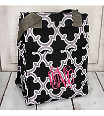 Black and Gray Moroccan Insulated Lunch Tote #LT11-708-BK
