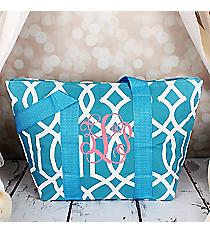 Light Blue Trellis Insulated Lunch Bag #LT15-1349-BL