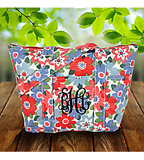 Blue and Pink Flowers Laminated Insulated Lunch Bag #LT015-3004