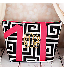 Black and White Greek Key with Pink Trim Insulated Lunch Bag #LT15-704-BK-PK