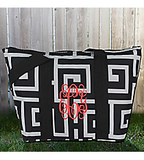 Black and Gray Greek Key Insulated Lunch Bag #LT15-704