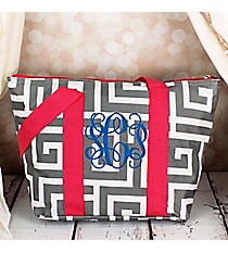 Gray and White Greek Key with Pink Trim Insulated Lunch Bag #LT15-704-GR-PK